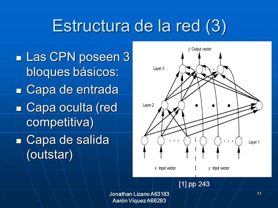 11 Estructura de la red (3) Las CPN poseen 3 bloques básicos: Las CPN poseen 3 bloques básicos: Capa de entrada Capa de entrada Capa oculta (red compe