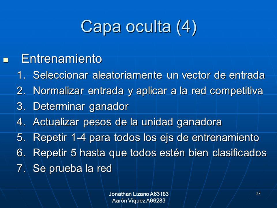 17 Capa oculta (4) Entrenamiento Entrenamiento 1.Seleccionar aleatoriamente un vector de entrada 2.Normalizar entrada y aplicar a la red competitiva 3