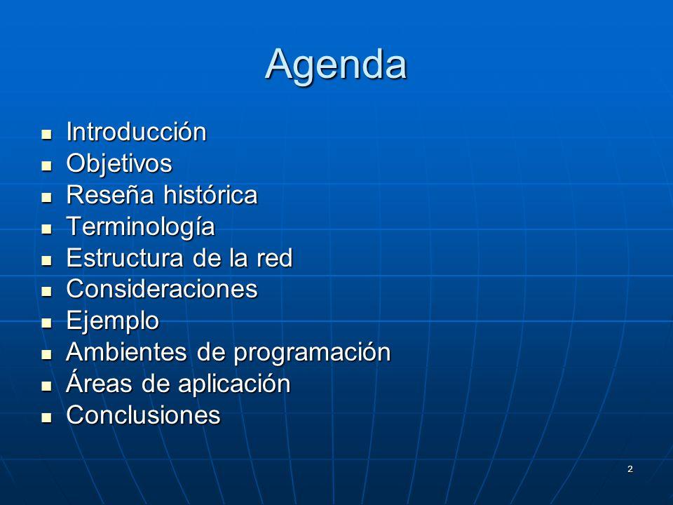 2 Agenda Introducción Introducción Objetivos Objetivos Reseña histórica Reseña histórica Terminología Terminología Estructura de la red Estructura de