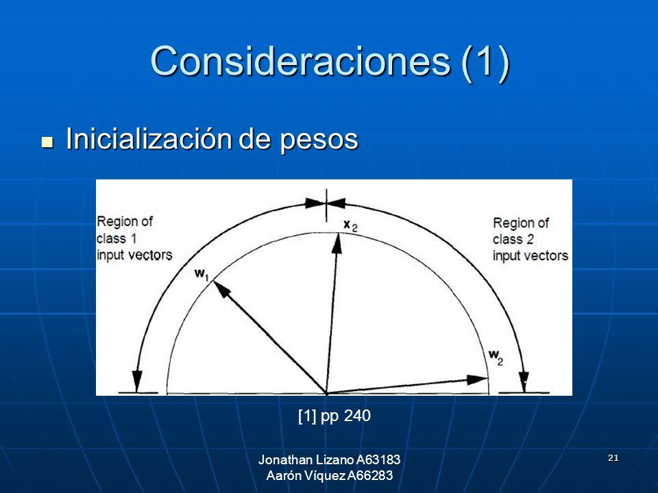 21 Consideraciones (1) Inicialización de pesos Inicialización de pesos Jonathan Lizano A63183 Aarón Víquez A66283 [1] pp 240