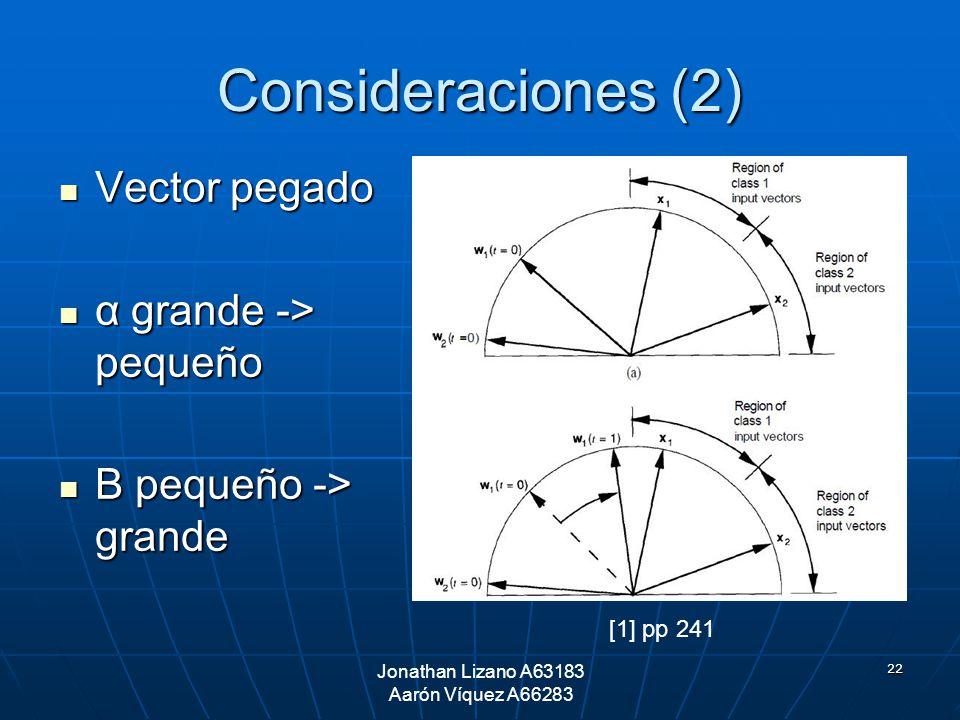 22 Consideraciones (2) Vector pegado Vector pegado α grande -> pequeño α grande -> pequeño Β pequeño -> grande Β pequeño -> grande [1] pp 241 Jonathan