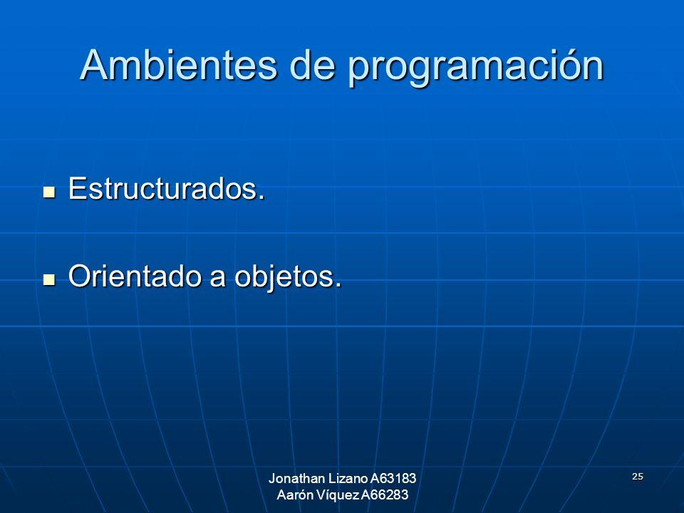 25 Ambientes de programación Estructurados. Estructurados. Orientado a objetos. Orientado a objetos. Jonathan Lizano A63183 Aarón Víquez A66283