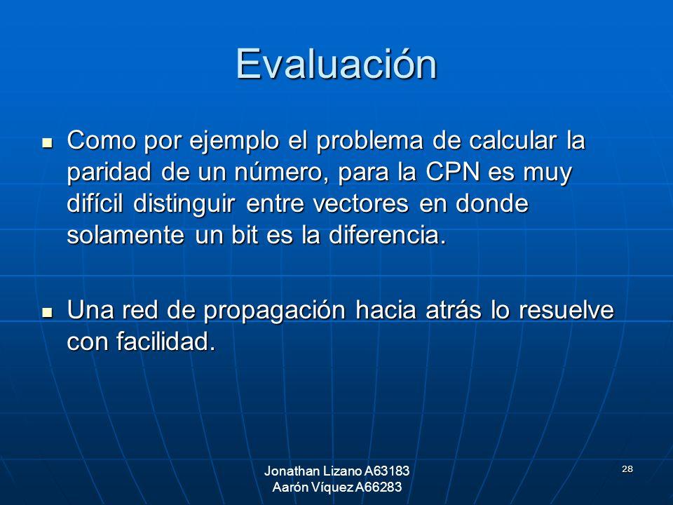 28 Evaluación Como por ejemplo el problema de calcular la paridad de un número, para la CPN es muy difícil distinguir entre vectores en donde solament