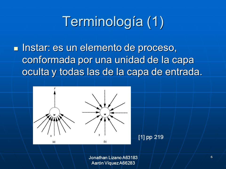 6 Terminología (1) Instar: es un elemento de proceso, conformada por una unidad de la capa oculta y todas las de la capa de entrada. Instar: es un ele