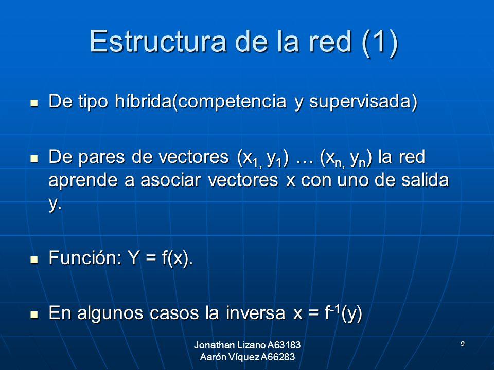 9 Estructura de la red (1) De tipo híbrida(competencia y supervisada) De tipo híbrida(competencia y supervisada) De pares de vectores (x 1, y 1 ) … (x