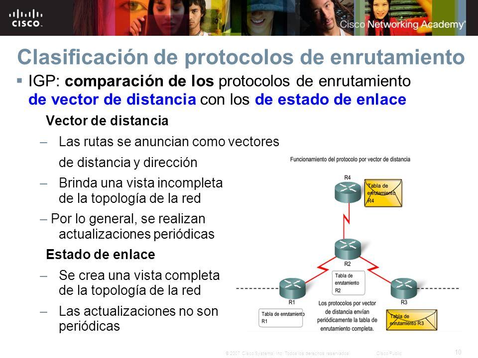10 © 2007 Cisco Systems, Inc. Todos los derechos reservados.Cisco Public Clasificación de protocolos de enrutamiento IGP: comparación de los protocolo