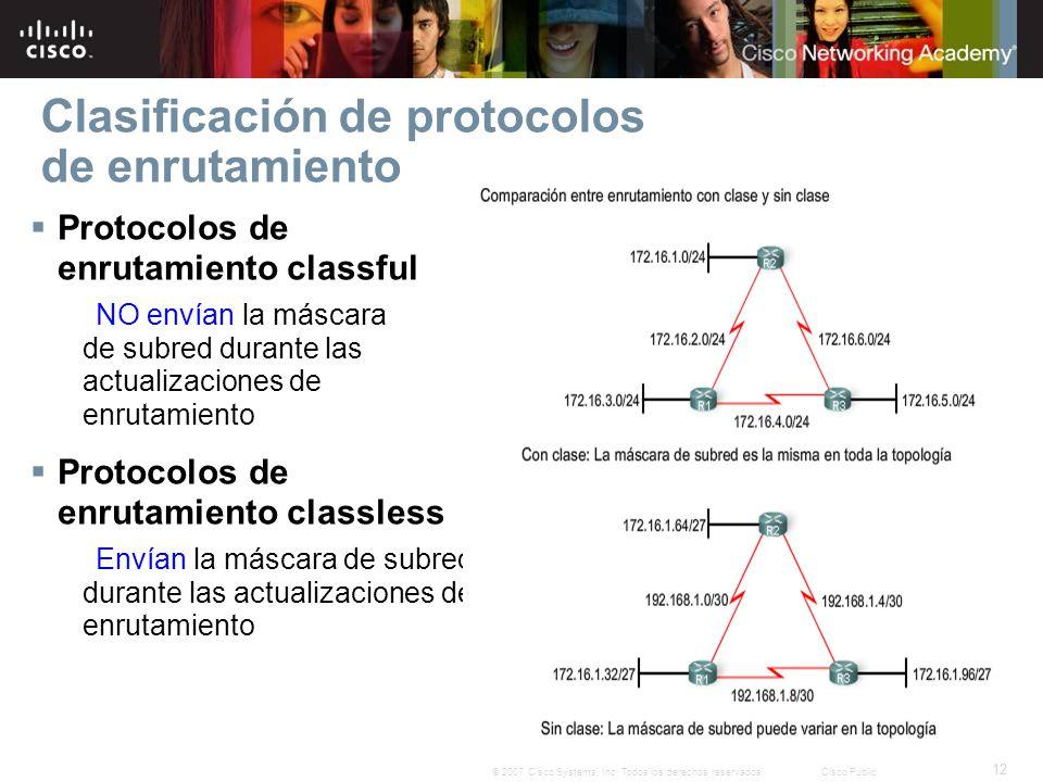 12 © 2007 Cisco Systems, Inc. Todos los derechos reservados.Cisco Public Clasificación de protocolos de enrutamiento Protocolos de enrutamiento classf