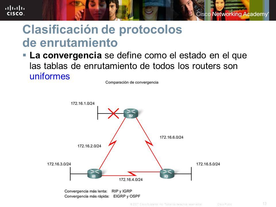 13 © 2007 Cisco Systems, Inc. Todos los derechos reservados.Cisco Public Clasificación de protocolos de enrutamiento La convergencia se define como el