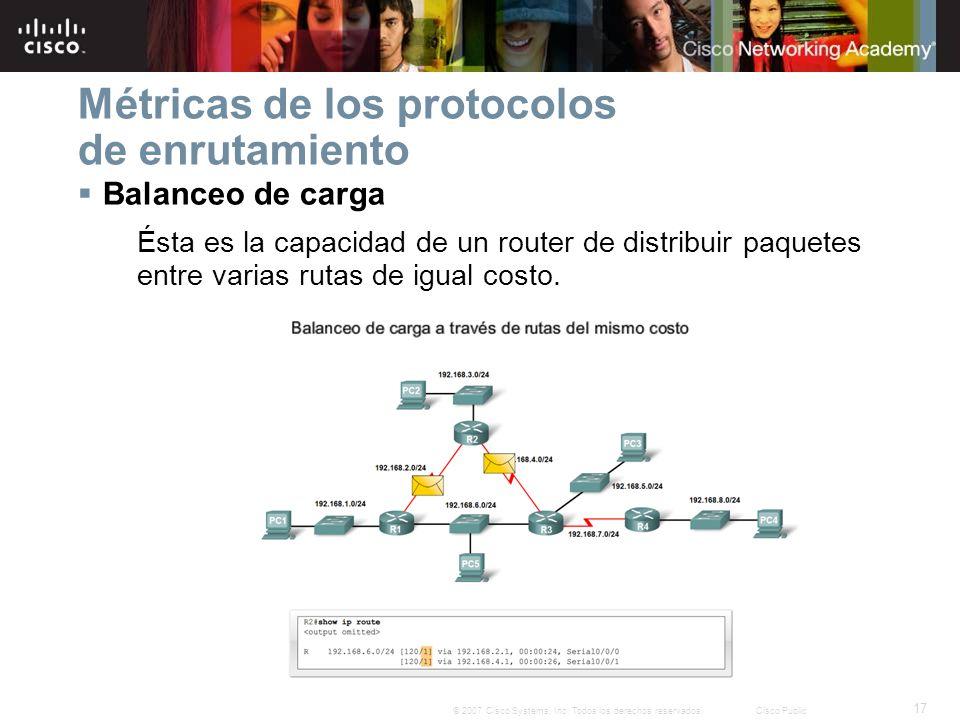17 © 2007 Cisco Systems, Inc. Todos los derechos reservados.Cisco Public Métricas de los protocolos de enrutamiento Balanceo de carga Ésta es la capac