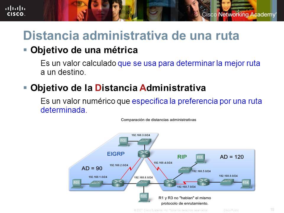 18 © 2007 Cisco Systems, Inc. Todos los derechos reservados.Cisco Public Distancia administrativa de una ruta Objetivo de una métrica Es un valor calc