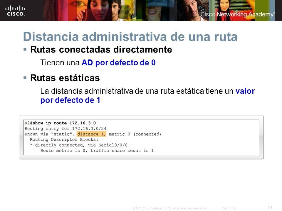 21 © 2007 Cisco Systems, Inc. Todos los derechos reservados.Cisco Public Distancia administrativa de una ruta Rutas conectadas directamente Tienen una