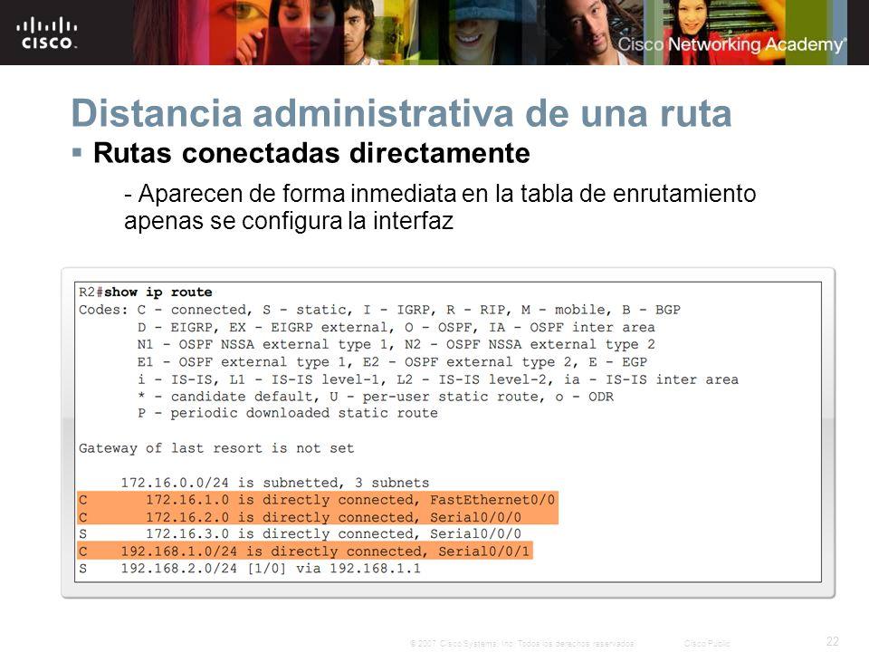 22 © 2007 Cisco Systems, Inc. Todos los derechos reservados.Cisco Public Distancia administrativa de una ruta Rutas conectadas directamente - Aparecen