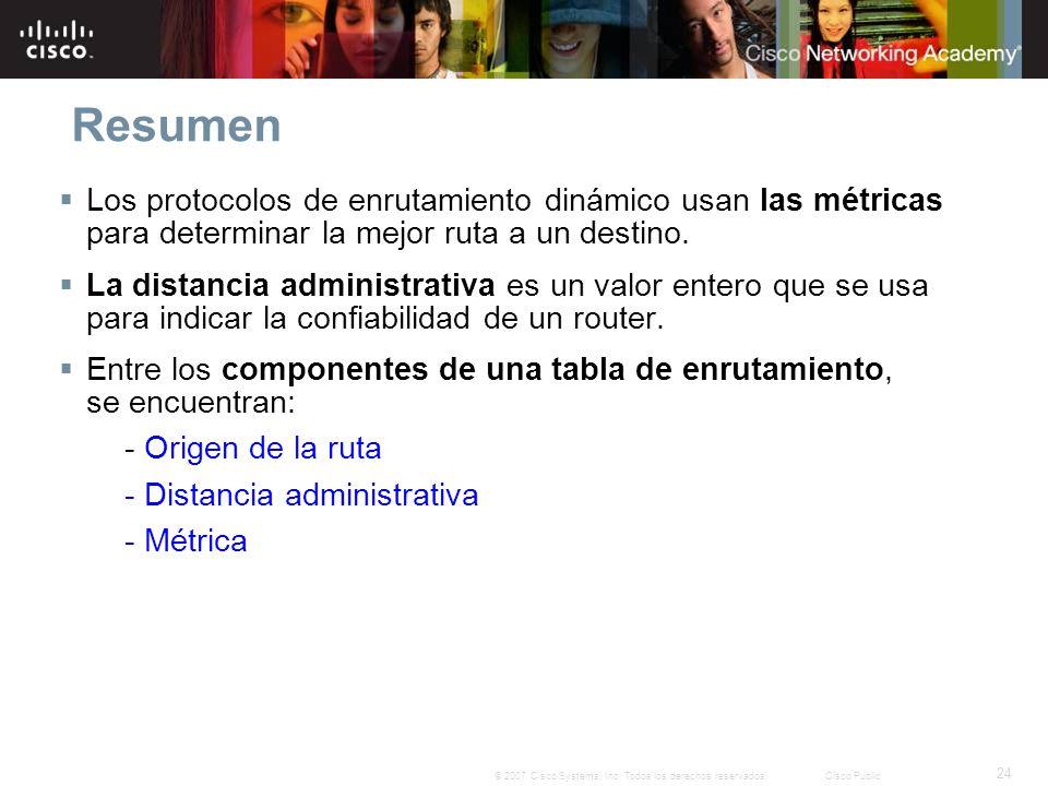24 © 2007 Cisco Systems, Inc. Todos los derechos reservados.Cisco Public Resumen Los protocolos de enrutamiento dinámico usan las métricas para determ