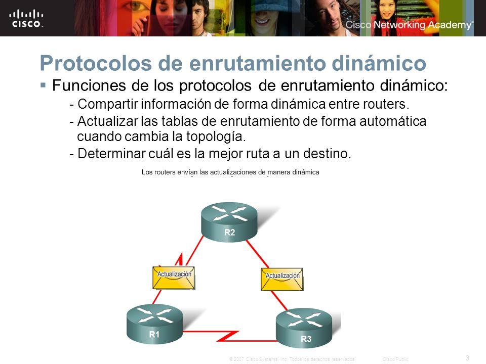 3 © 2007 Cisco Systems, Inc. Todos los derechos reservados.Cisco Public Protocolos de enrutamiento dinámico Funciones de los protocolos de enrutamient