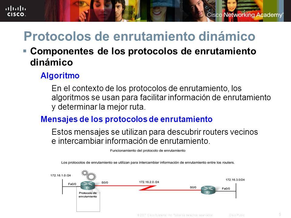5 © 2007 Cisco Systems, Inc. Todos los derechos reservados.Cisco Public Protocolos de enrutamiento dinámico Componentes de los protocolos de enrutamie