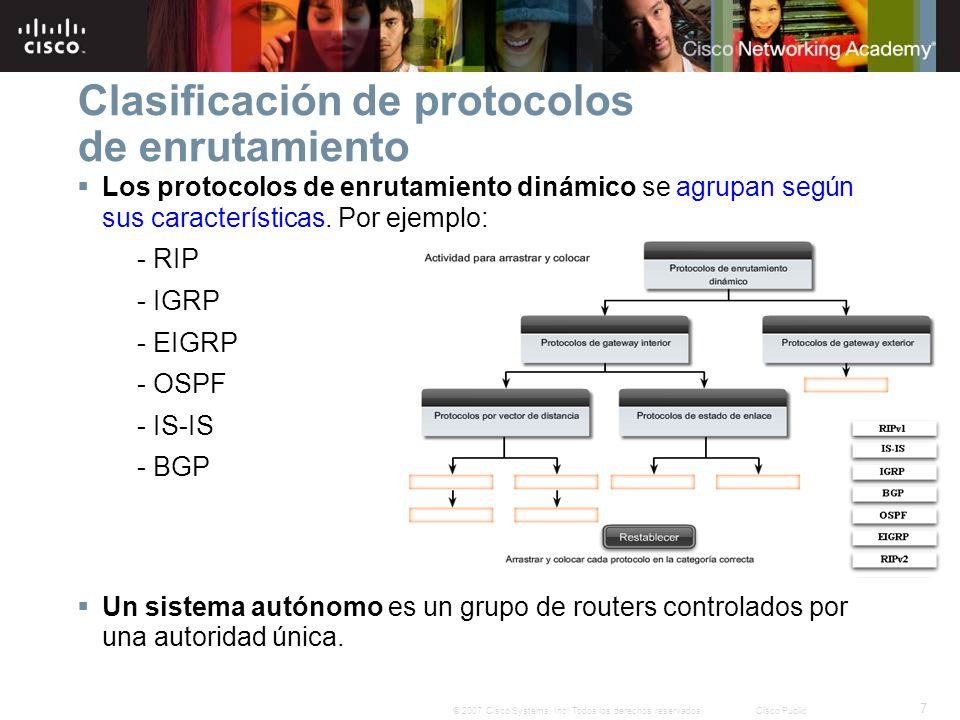 7 © 2007 Cisco Systems, Inc. Todos los derechos reservados.Cisco Public Clasificación de protocolos de enrutamiento Los protocolos de enrutamiento din