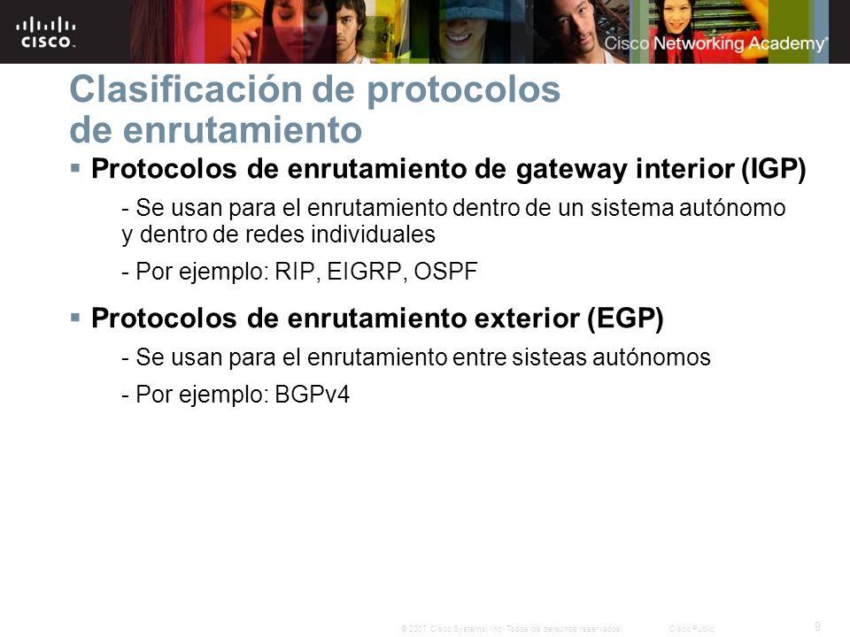 9 © 2007 Cisco Systems, Inc. Todos los derechos reservados.Cisco Public Clasificación de protocolos de enrutamiento Protocolos de enrutamiento de gate