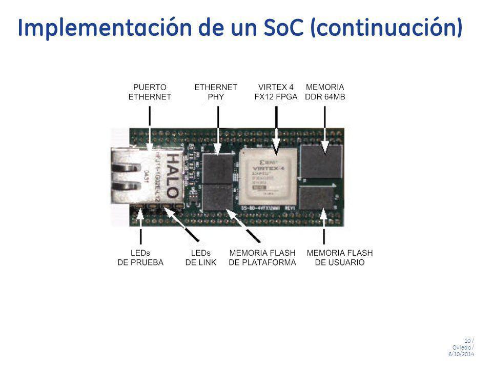 10 / Oviedo / 6/10/2014 Implementación de un SoC (continuación)