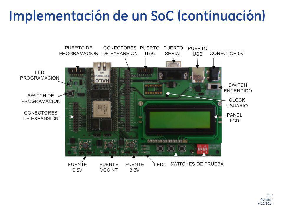 11 / Oviedo / 6/10/2014 Implementación de un SoC (continuación)