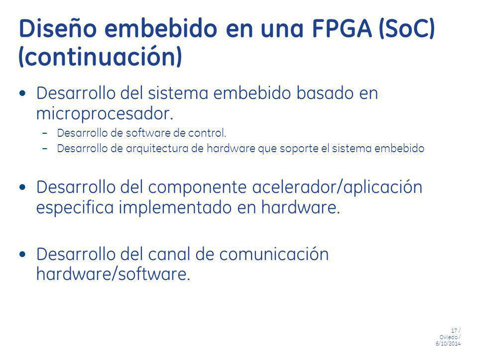 17 / Oviedo / 6/10/2014 Diseño embebido en una FPGA (SoC) (continuación) Desarrollo del sistema embebido basado en microprocesador. – Desarrollo de so