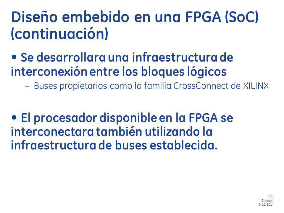 19 / Oviedo / 6/10/2014 Diseño embebido en una FPGA (SoC) (continuación) Se desarrollara una infraestructura de interconexión entre los bloques lógico