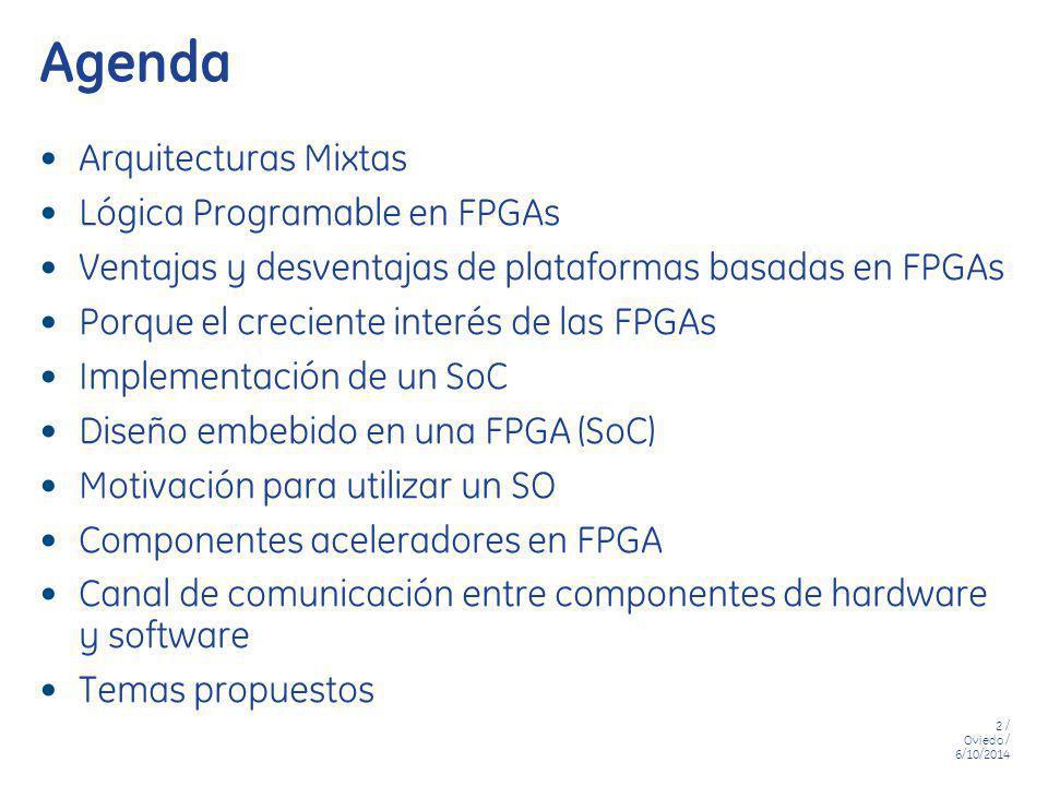 2 / Oviedo / 6/10/2014 Agenda Arquitecturas Mixtas Lógica Programable en FPGAs Ventajas y desventajas de plataformas basadas en FPGAs Porque el crecie