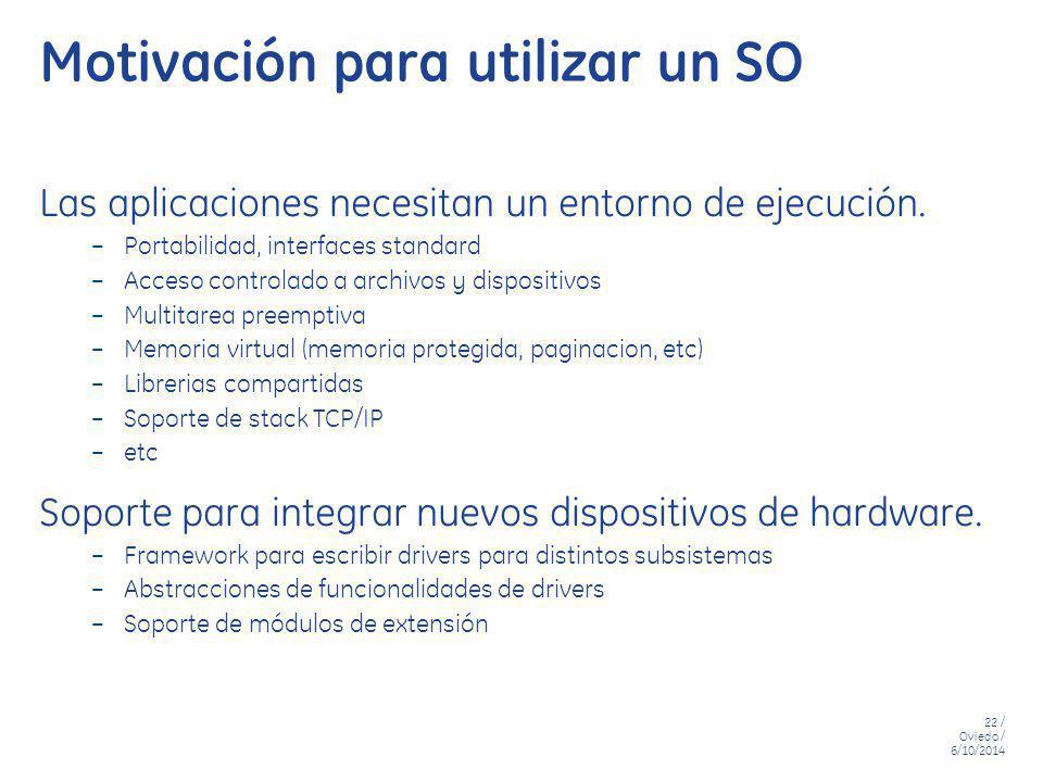 22 / Oviedo / 6/10/2014 Motivación para utilizar un SO Las aplicaciones necesitan un entorno de ejecución. – Portabilidad, interfaces standard – Acces