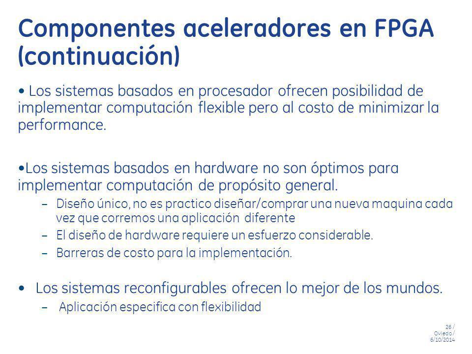 26 / Oviedo / 6/10/2014 Componentes aceleradores en FPGA (continuación) Los sistemas basados en procesador ofrecen posibilidad de implementar computac