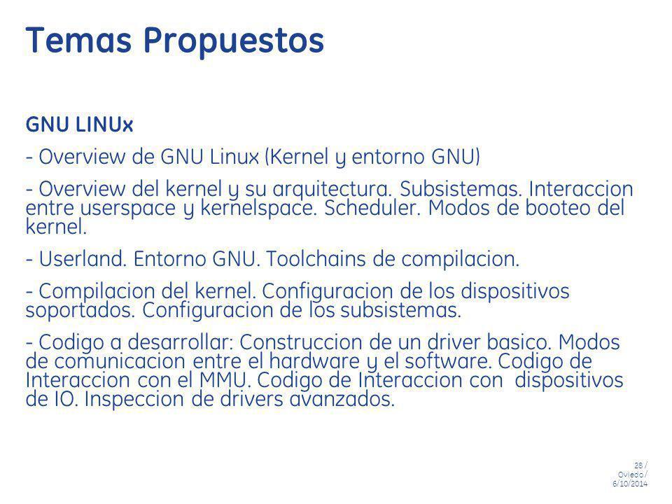 28 / Oviedo / 6/10/2014 Temas Propuestos GNU LINUx - Overview de GNU Linux (Kernel y entorno GNU) - Overview del kernel y su arquitectura. Subsistemas