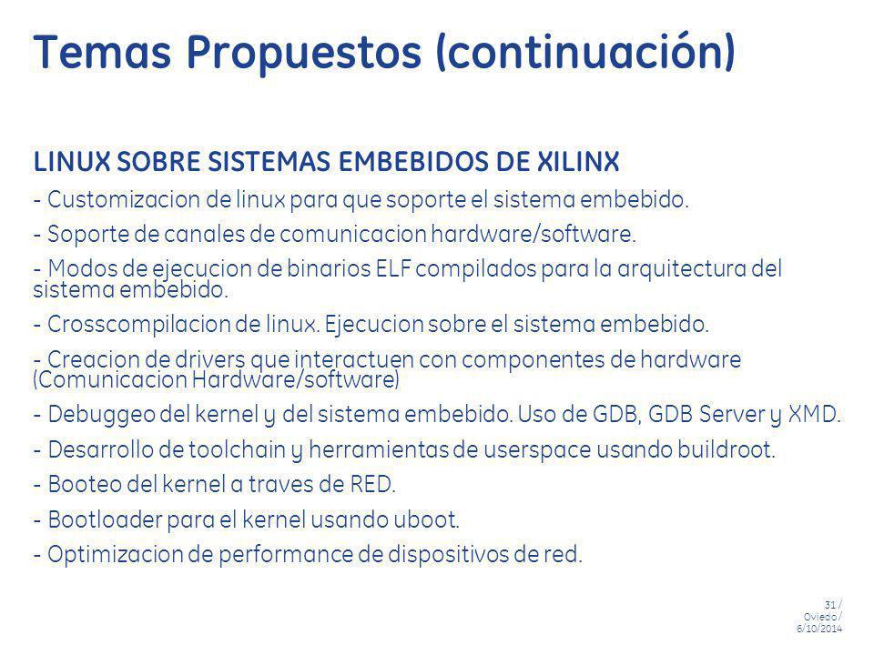 31 / Oviedo / 6/10/2014 Temas Propuestos (continuación) LINUX SOBRE SISTEMAS EMBEBIDOS DE XILINX - Customizacion de linux para que soporte el sistema