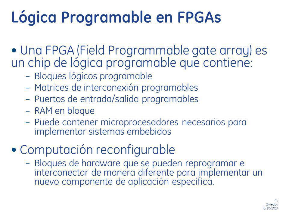4 / Oviedo / 6/10/2014 Lógica Programable en FPGAs Una FPGA (Field Programmable gate array) es un chip de lógica programable que contiene: – Bloques l