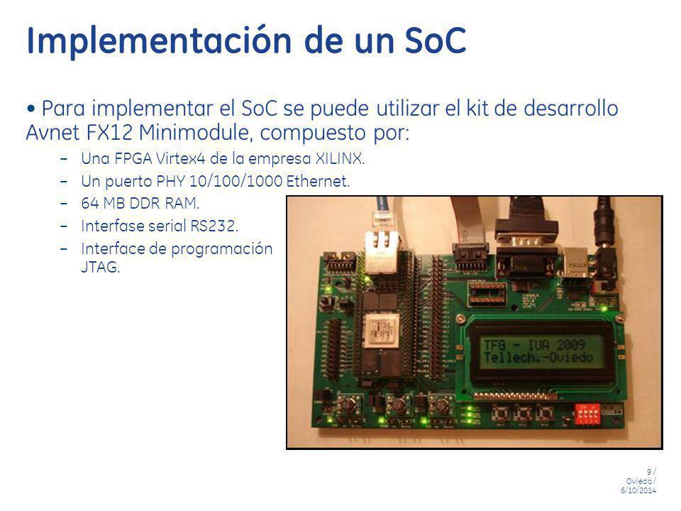9 / Oviedo / 6/10/2014 Implementación de un SoC Para implementar el SoC se puede utilizar el kit de desarrollo Avnet FX12 Minimodule, compuesto por: –