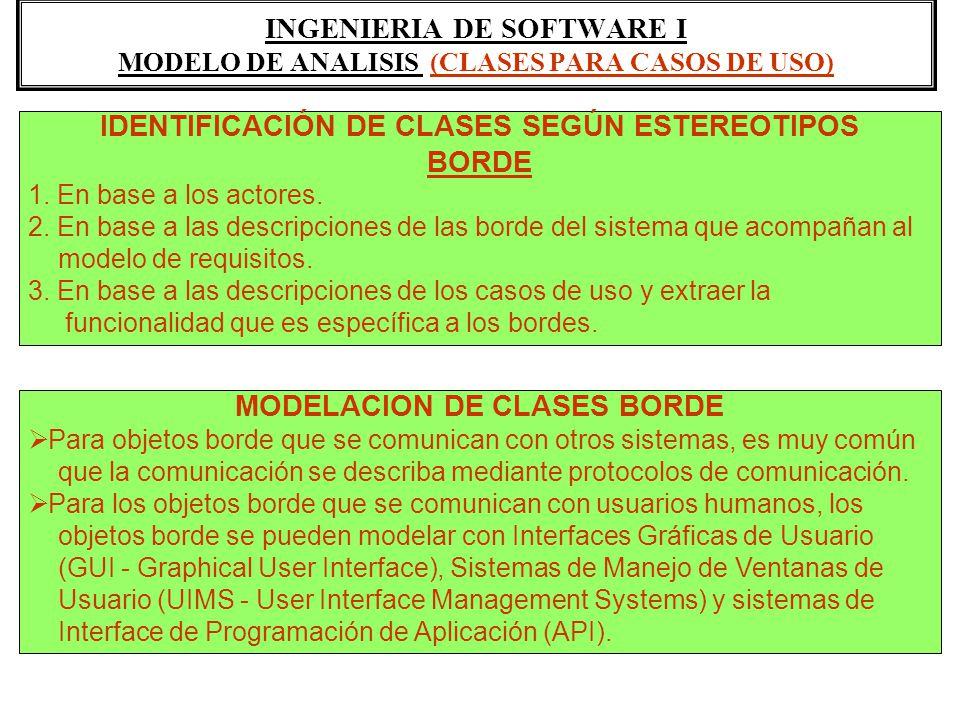 INGENIERIA DE SOFTWARE I MODELO DE ANALISIS (CLASES PARA CASOS DE USO) IDENTIFICACIÓN DE CLASES SEGÚN ESTEREOTIPOS BORDE 1. En base a los actores. 2.