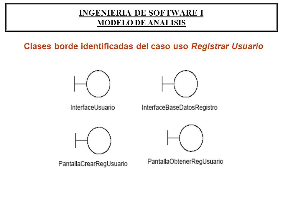 INGENIERIA DE SOFTWARE I MODELO DE ANALISIS Clases borde identificadas del caso uso Registrar Usuario