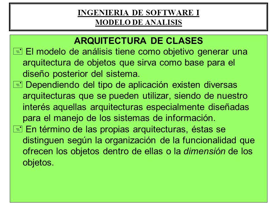 ARQUITECTURA DE CLASES + El modelo de análisis tiene como objetivo generar una arquitectura de objetos que sirva como base para el diseño posterior de