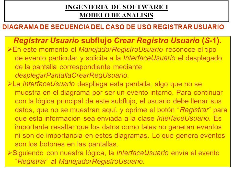INGENIERIA DE SOFTWARE I MODELO DE ANALISIS Registrar Usuario subflujo Crear Registro Usuario (S-1). En este momento el ManejadorRegistroUsuario recon