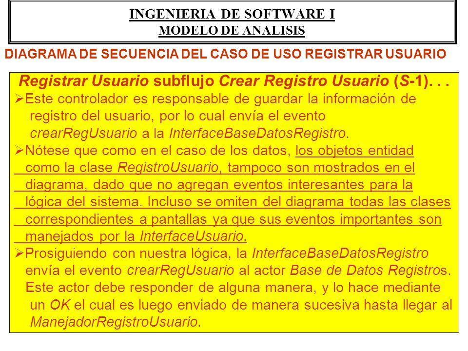 INGENIERIA DE SOFTWARE I MODELO DE ANALISIS Registrar Usuario subflujo Crear Registro Usuario (S-1)... Este controlador es responsable de guardar la i