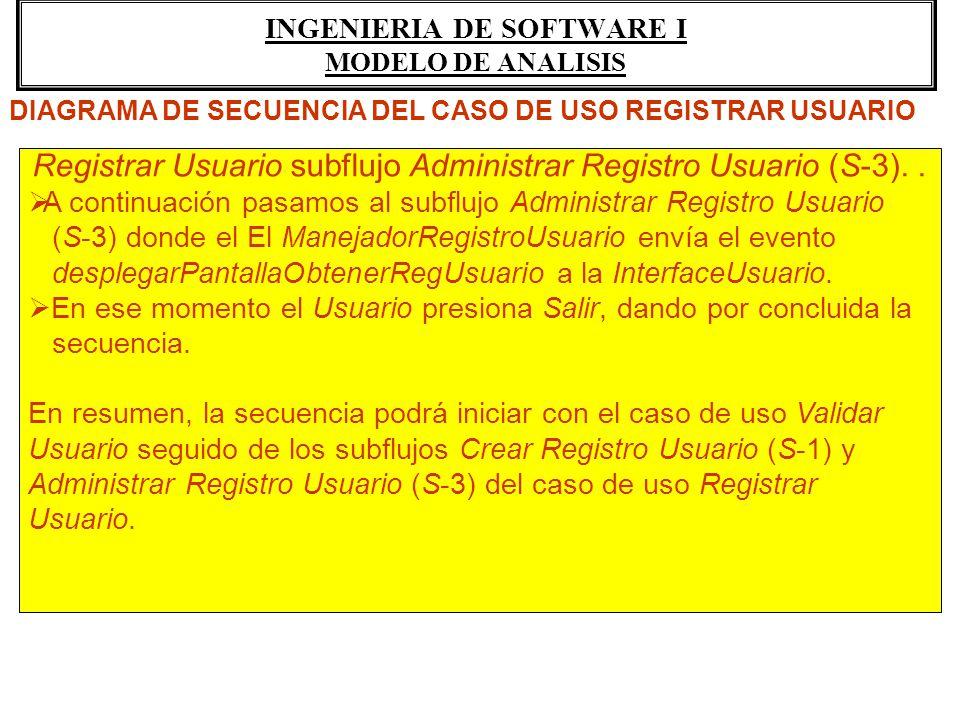 INGENIERIA DE SOFTWARE I MODELO DE ANALISIS Registrar Usuario subflujo Administrar Registro Usuario (S-3).. A continuación pasamos al subflujo Adminis
