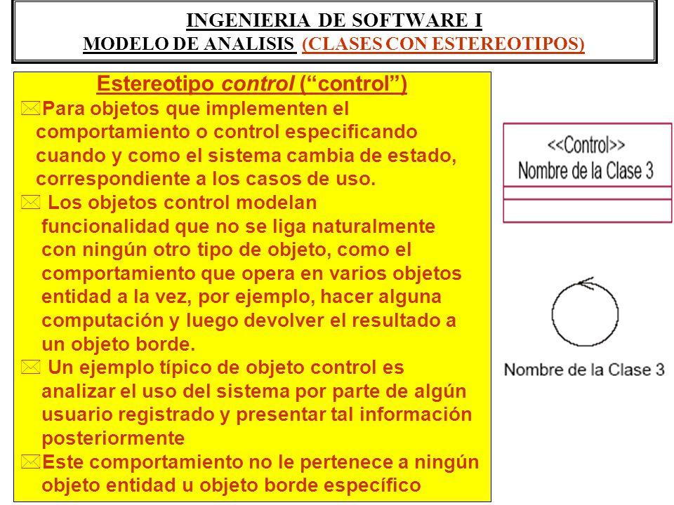 INGENIERIA DE SOFTWARE I MODELO DE ANALISIS (CLASES CON ESTEREOTIPOS) Estereotipo control (control) *Para objetos que implementen el comportamiento o