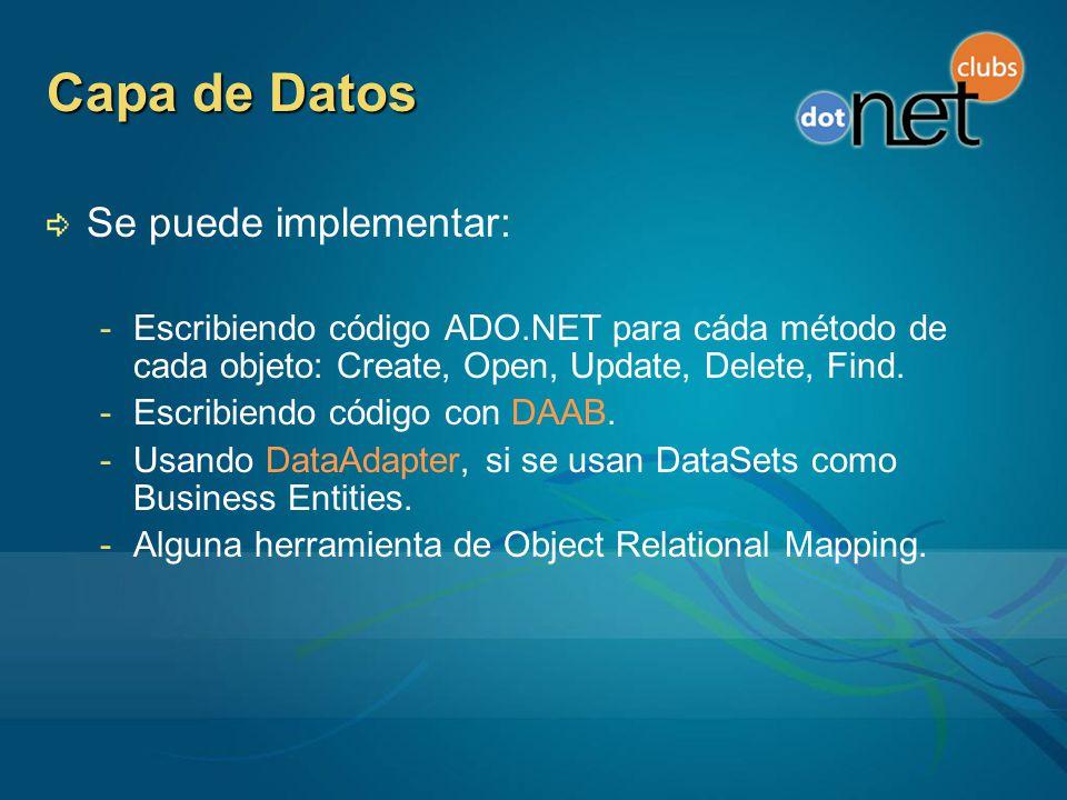 Capa de Datos Se puede implementar: -Escribiendo código ADO.NET para cáda método de cada objeto: Create, Open, Update, Delete, Find.