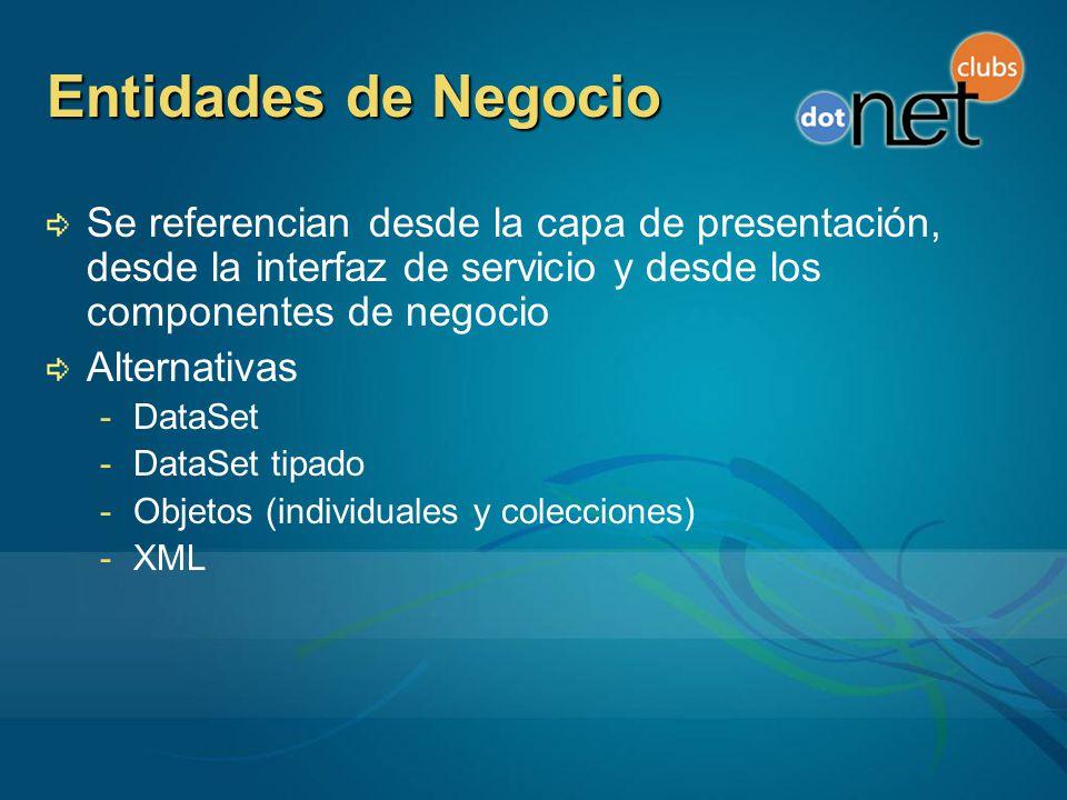 Entidades de Negocio Se referencian desde la capa de presentación, desde la interfaz de servicio y desde los componentes de negocio Alternativas -DataSet -DataSet tipado -Objetos (individuales y colecciones) -XML