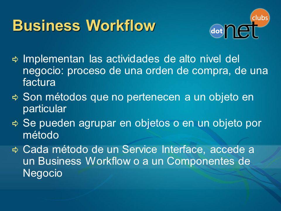 Business Workflow Implementan las actividades de alto nivel del negocio: proceso de una orden de compra, de una factura Son métodos que no pertenecen a un objeto en particular Se pueden agrupar en objetos o en un objeto por método Cada método de un Service Interface, accede a un Business Workflow o a un Componentes de Negocio