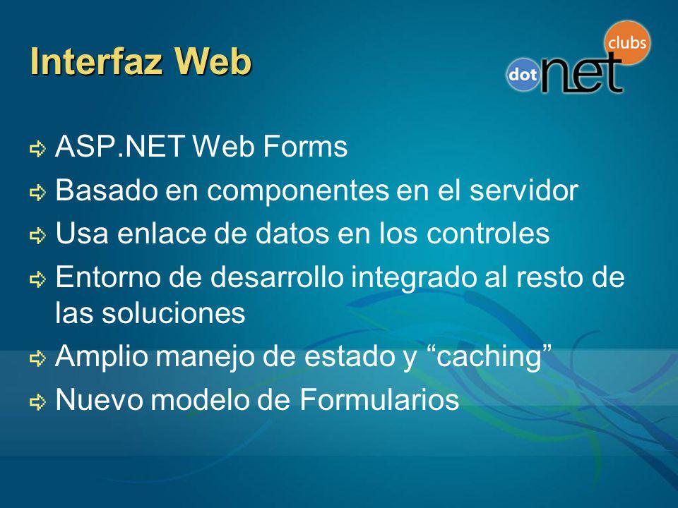 Interfaz Web ASP.NET Web Forms Basado en componentes en el servidor Usa enlace de datos en los controles Entorno de desarrollo integrado al resto de las soluciones Amplio manejo de estado y caching Nuevo modelo de Formularios