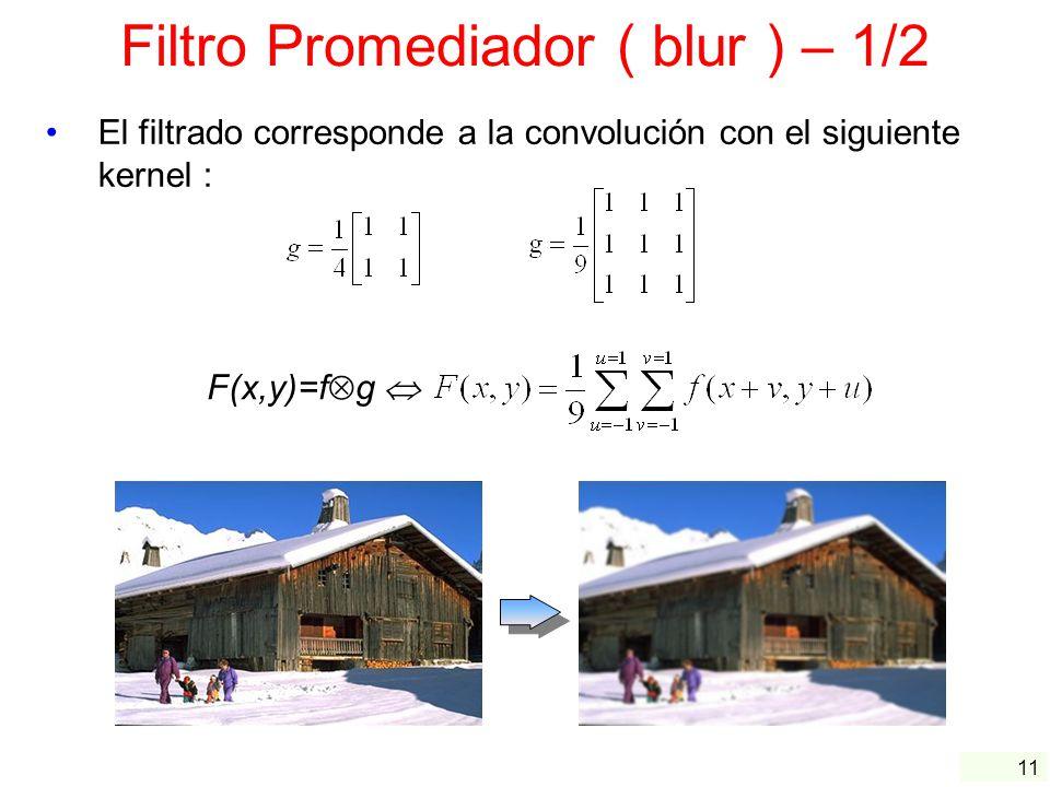 11 Filtro Promediador ( blur ) – 1/2 El filtrado corresponde a la convolución con el siguiente kernel : F(x,y)=f g