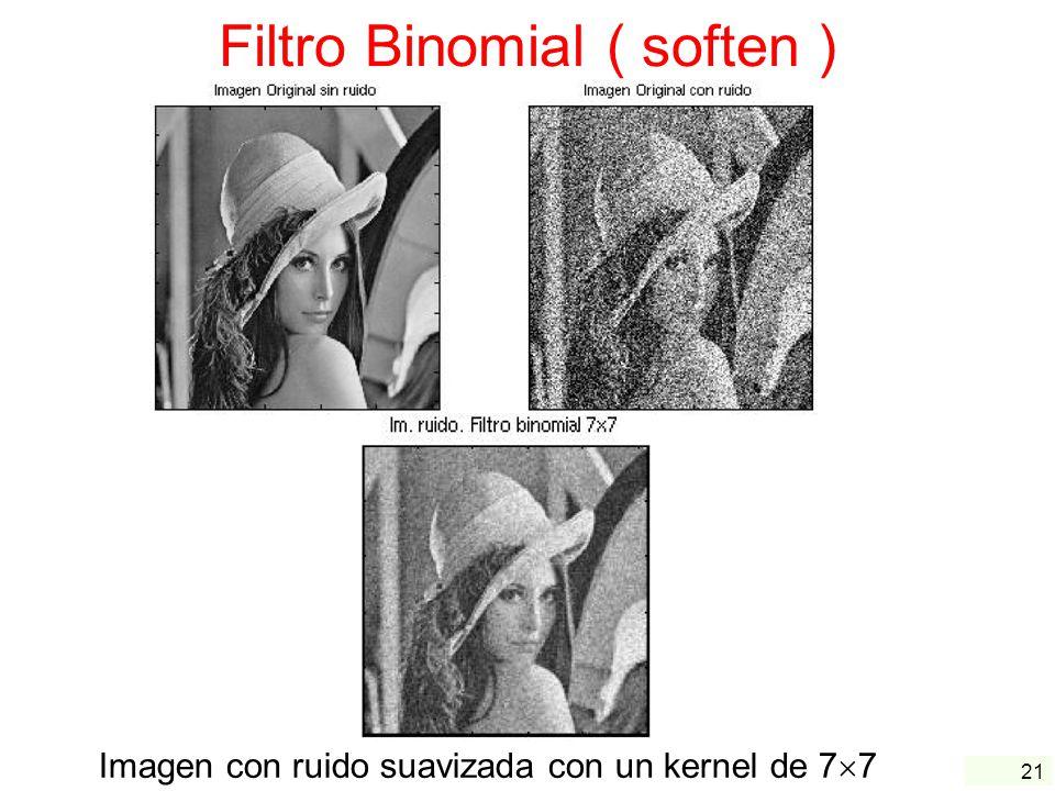 21 Filtro Binomial ( soften ) Imagen con ruido suavizada con un kernel de 7 7