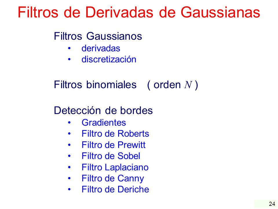 24 Filtros de Derivadas de Gaussianas Filtros Gaussianos derivadas discretización Filtros binomiales ( orden N ) Detección de bordes Gradientes Filtro