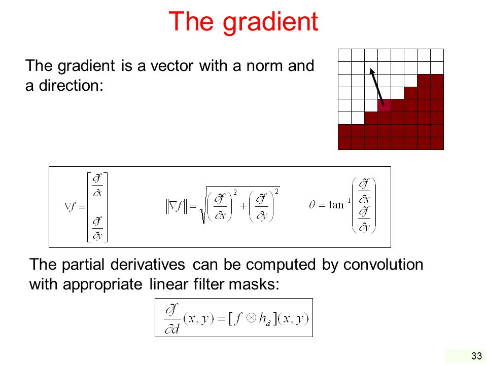 33 The gradient The gradient is a vector with a norm and a direction: The partial derivatives can be computed by convolution with appropriate linear filter masks:
