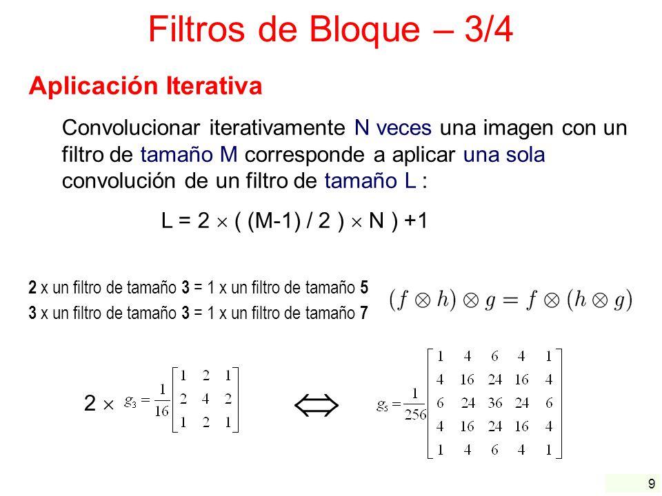 10 Filtros de Bloque – 4/4 Separabilidad El filtro Gaussiano y el filtro promediador son separables Ventaja : Complejidad computational para un filtro M N : Implementación no separable:M N operaciones Implementation separable:M + N operaciones ya que