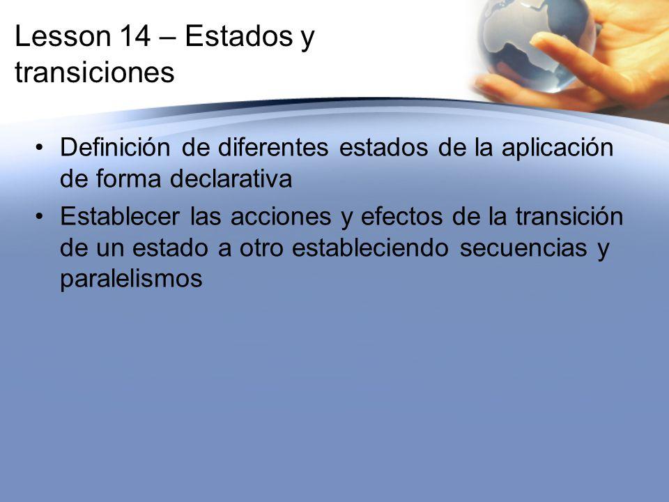 Lesson 14 – Estados y transiciones Definición de diferentes estados de la aplicación de forma declarativa Establecer las acciones y efectos de la tran