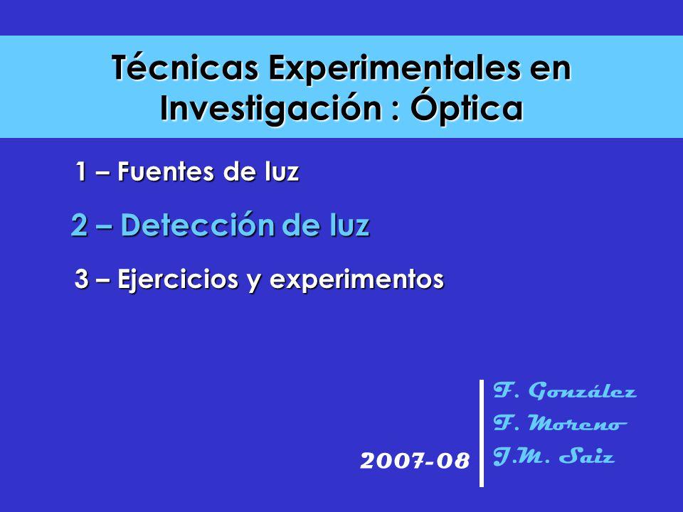 Técnicas Experimentales en Investigación : Óptica F. González F. Moreno J.M. Saiz 2007-08 2 – Detección de luz 3 – Ejercicios y experimentos 1 – Fuent